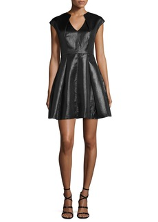 Halston Heritage Cap-Sleeve Metallic Jersey Fit-and-Flare Dress
