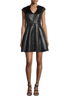 Halston Heritage Cap-Sleeve Metallic Jersey Fit-and-Flare Dress