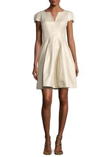 Halston Heritage Cap-Sleeve Metallic Structured Faille Dress