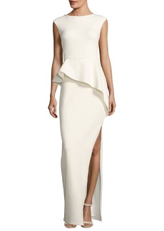 Halston Heritage Cap-Sleeve Round-Neck Column Evening Gown w/ Ruffle