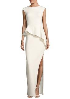 Halston Heritage Cap-Sleeve Round-Neck Column Evening Gown w/ Ruffle