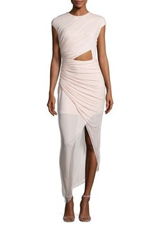 Halston Heritage Cap-Sleeve Ruched Jersey Cocktail Dress