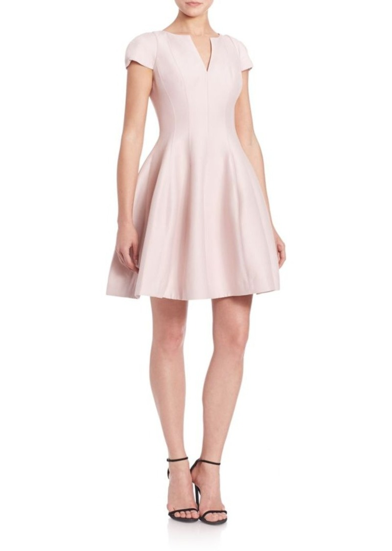 Halston Heritage Cap-Sleeve Sateen Dress