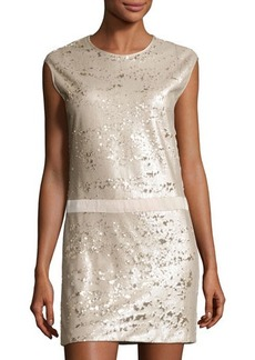 Halston Heritage Cap-Sleeve Sequined Shift Dress
