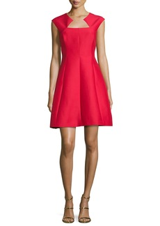 Halston Heritage Cap-Sleeve Structured Cocktail Dress