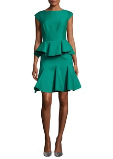 Halston Heritage Cap-Sleeve Structured Tiered Flounce Cocktail Dress