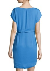 Halston Heritage Cap-Sleeve Twist-Front Dress