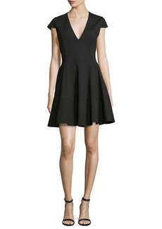 Halston Heritage Cap-Sleeve V-Neck Fit-&-Flare Dress