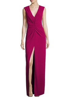 Halston Heritage Cap-Sleeve V-Neck Ruched-Front Column Evening Gown