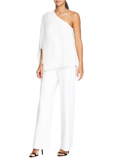 Halston Heritage Cape Overlay One-Shoulder Jumpsuit