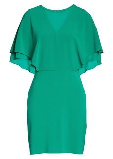 Halston Heritage Cape Sleeve Cocktail Dress