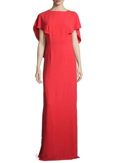 Halston Heritage Cape-Sleeve Crepe Gown