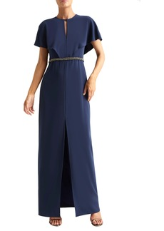 Halston Heritage Cape Sleeve Gown