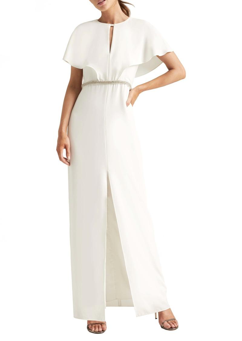 Halston Heritage Cape Sleeve Gown