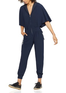 HALSTON HERITAGE Cape-Sleeve Hooded Jumpsuit