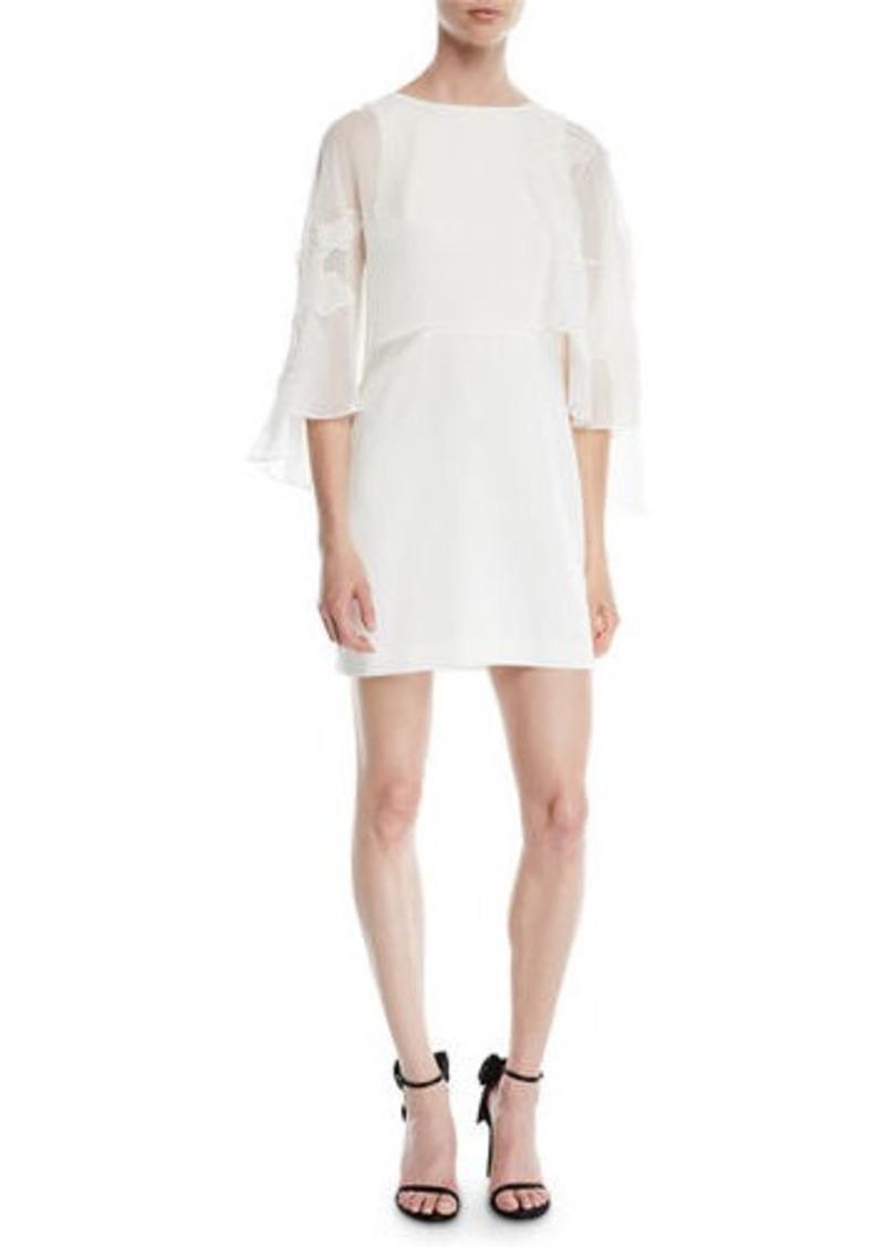 Halston Heritage Cape-Sleeve Mini Dress w/ Floral Embroidery
