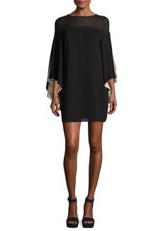 Halston Heritage Cape-Sleeve Shift Dress