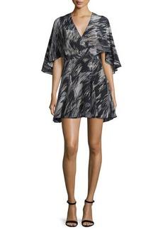 Halston Heritage Cape-Sleeve V-Neck Mini Dress