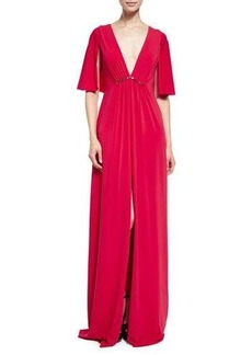 Halston Heritage Cape-Sleeve V-Neck Stretch Crepe Gown