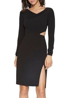 HALSTON HERITAGE Chain-Trim Cutout Dress