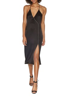 HALSTON HERITAGE Chain-Trim Slip Dress