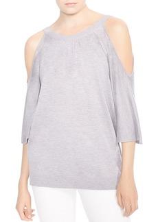 HALSTON HERITAGE Cold-Shoulder Back-Button Sweater