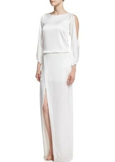 Halston Heritage Cold-Shoulder Crepe Column Gown