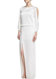 Halston Heritage Cold-Shoulder Crepe Column Gown