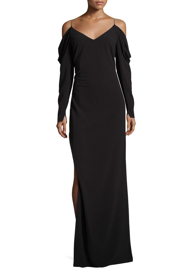 Halston Heritage Cold-Shoulder Draped Crepe Evening Gown