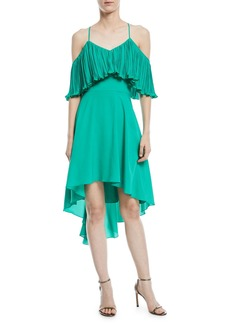 Halston Heritage Cold-Shoulder Dress w/ Pleated Flounce Top