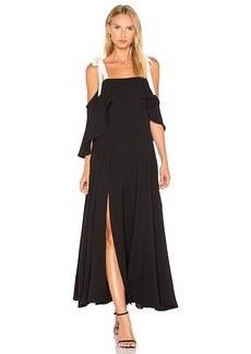 Halston Heritage Cold Shoulder Gown With Flounce Detail in Black. - size 0 (also in 2,4)