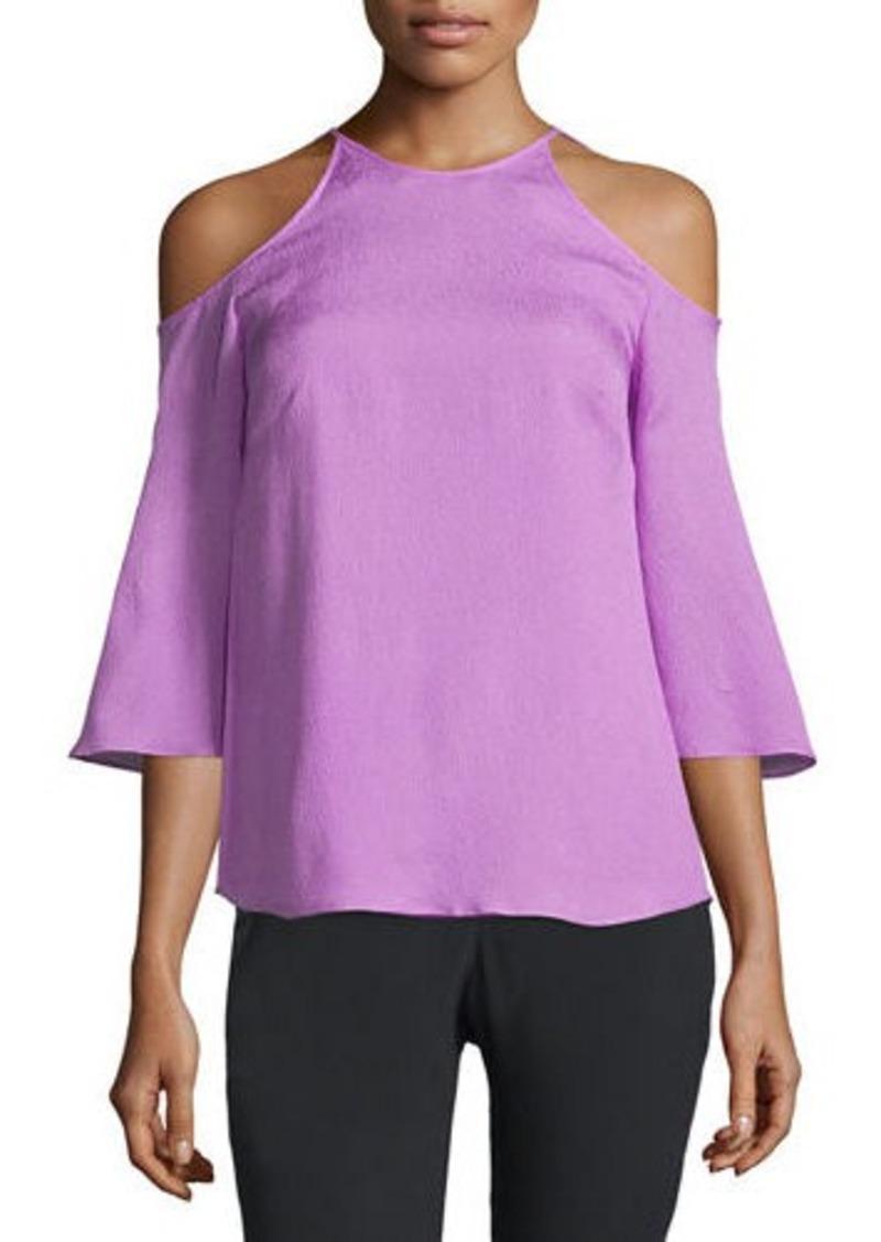 Halston Heritage Cold-Shoulder Silk Blouse