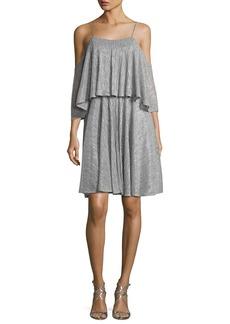Halston Heritage Cold-Shoulder Textured Metallic Flounce Dress