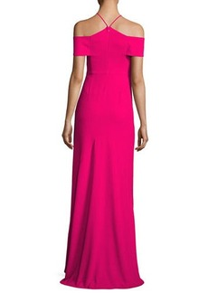 Halston Heritage Cold-Shoulder V-Neck Evening Gown