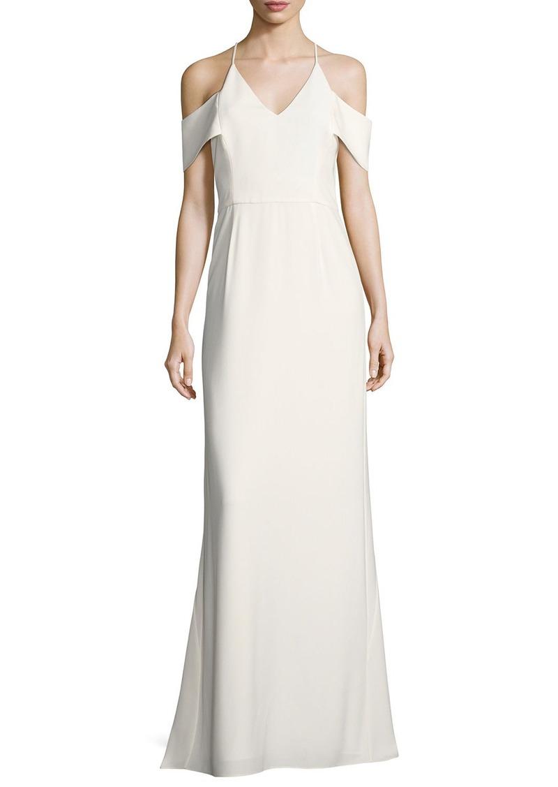 Halston Heritage Halston Heritage Cold-Shoulder V-Neck Evening Gown ...