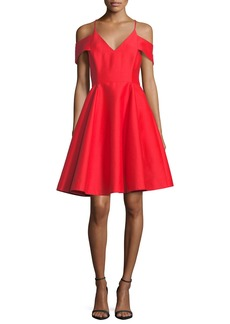 Halston Heritage Cold-Shoulder V-Neck Silk Faille Cocktail Dress