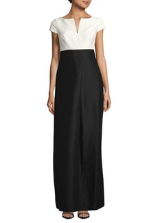 Halston Heritage Colorblock Floor-Length Dress