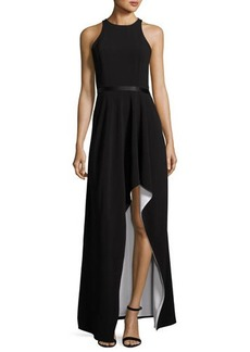 Halston Heritage Colorblock Racerback High-Low Gown
