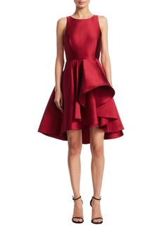Halston Heritage Colorblock Ruffle Hi-Lo Dress