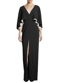 Halston Heritage Colorblock V-Neck Cape Evening Gown