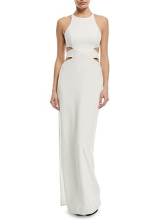 Halston Heritage Column Cutout Self-Tie Gown