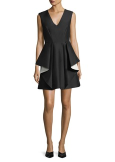 Halston Heritage Contrast Ruffle Mini Cocktail Dress