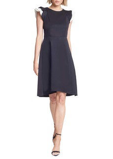 Halston Heritage Contrast Ruffle Sleeve Cocktail Dress