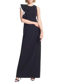 Halston Heritage Contrast Ruffle Sleeve Crepe Sheath Gown
