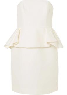 Halston Heritage Cotton and silk-blend peplum dress