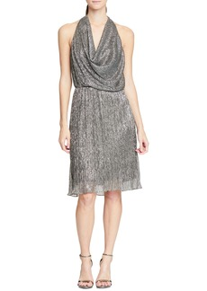 Halston Heritage Cowl Neck Metallic Cocktail Dress