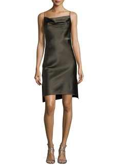 Halston Heritage Cowl-Neck Satin Slip Dress
