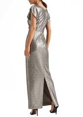 Halston Heritage Cowl Neck Sequin Column Gown