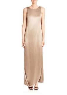 Halston Heritage Crepe & Satin Draped Gown