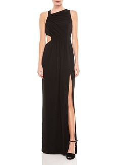 HALSTON HERITAGE Crepe Cutout Gown